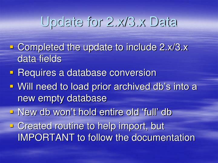 Update for 2.x/3.x Data