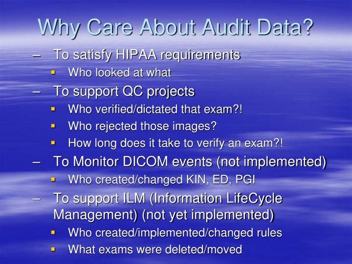 Why Care About Audit Data?