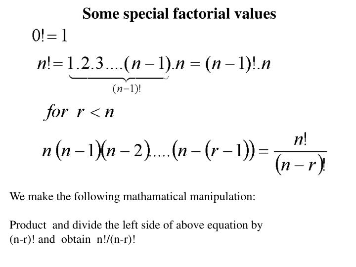 Some special factorial values