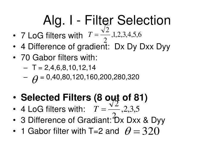 Alg. I - Filter Selection