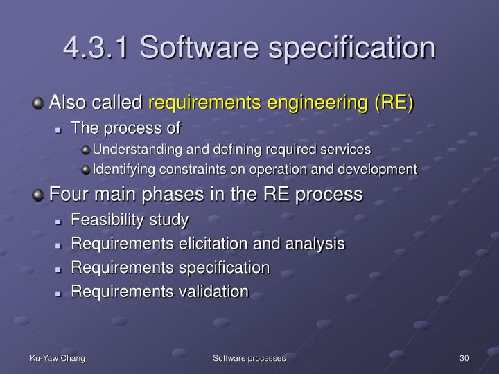 4.3.1 Software specification