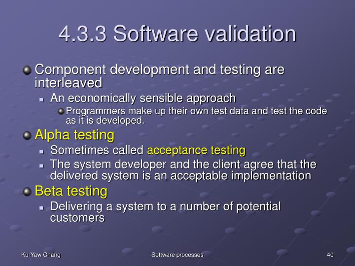 4.3.3 Software validation