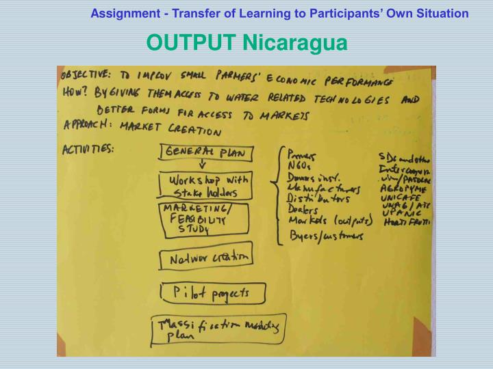 Assignment transfer of learning to participants own situation