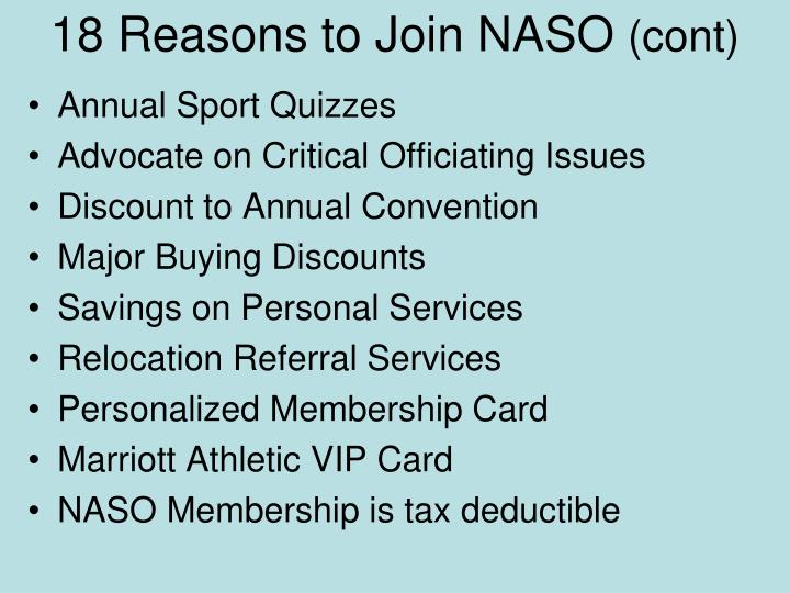 18 Reasons to Join NASO