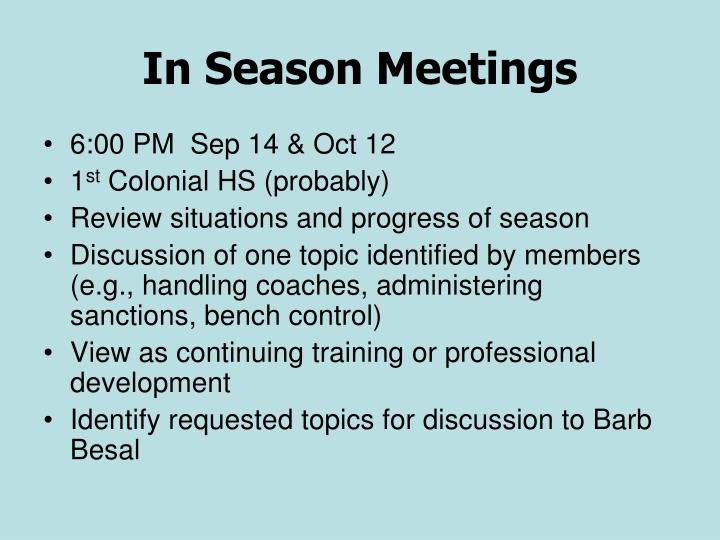 In Season Meetings