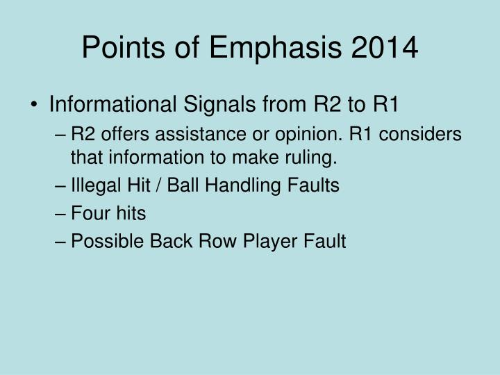 Points of Emphasis 2014