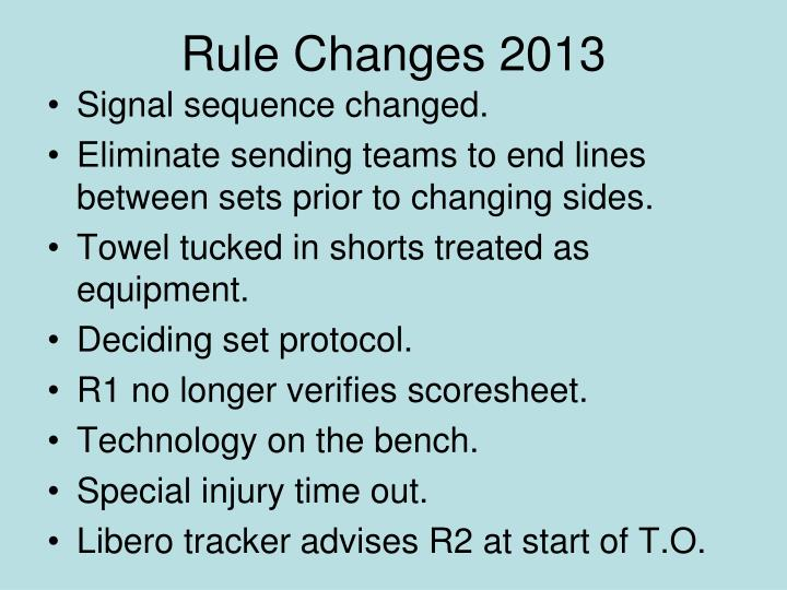 Rule Changes 2013