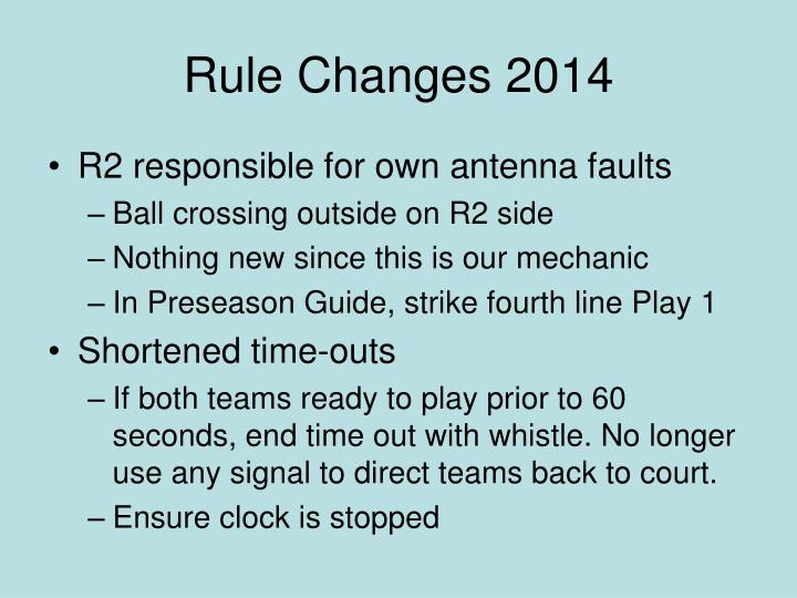 Rule Changes 2014