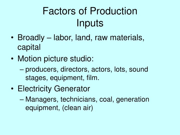 Factors of production inputs