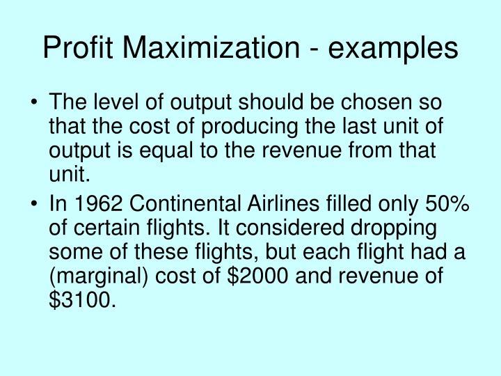 Profit Maximization - examples
