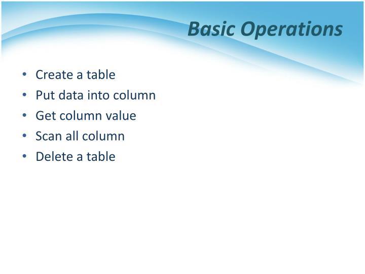 Basic Operations