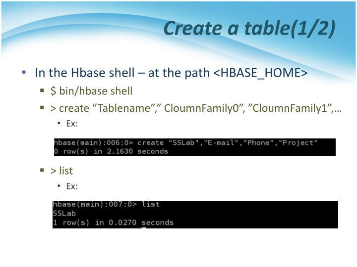Create a table(1/2)