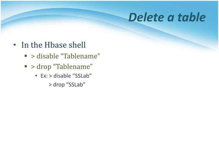 Delete a table