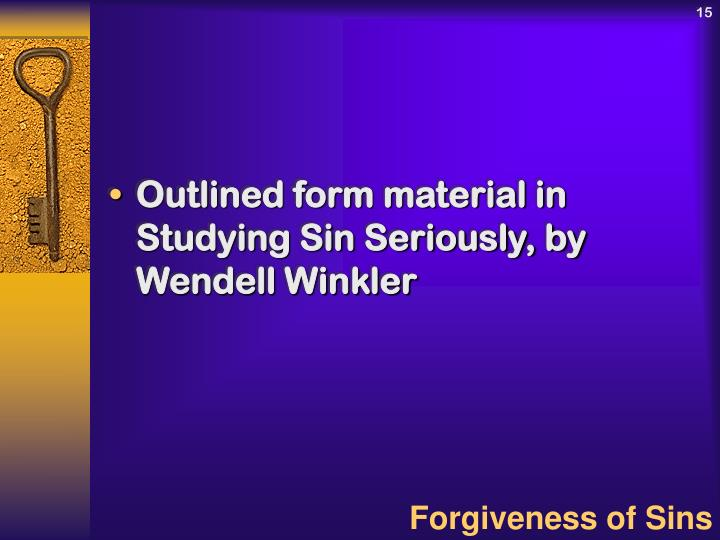 Outlined form material in Studying Sin Seriously, by Wendell Winkler