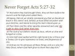 never forget acts 5 27 32