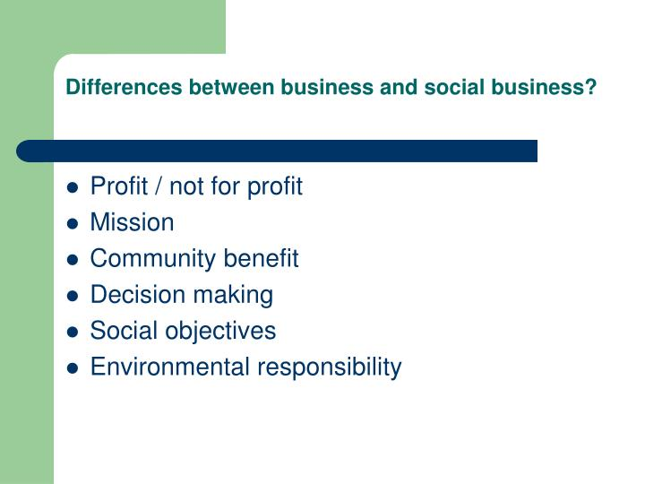 Differences between business and social business?