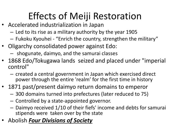 Effects of Meiji Restoration