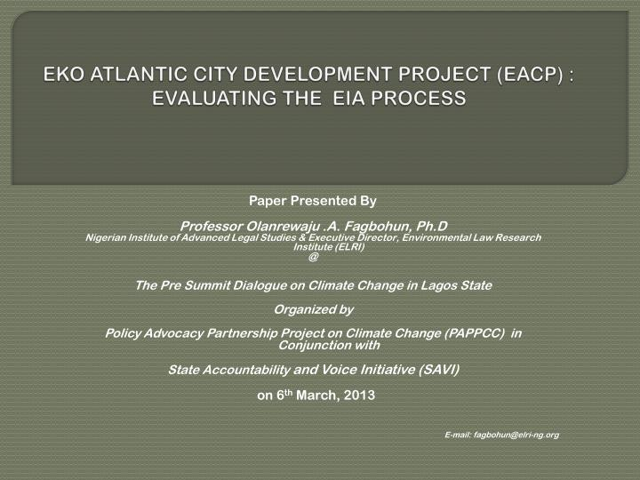 eko atlantic city development project eacp evaluating the eia process