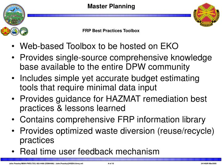 FRP Best Practices Toolbox