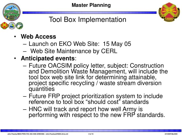 Tool Box Implementation