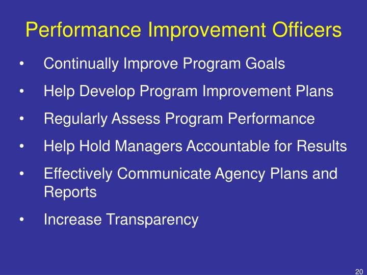 Performance Improvement Officers