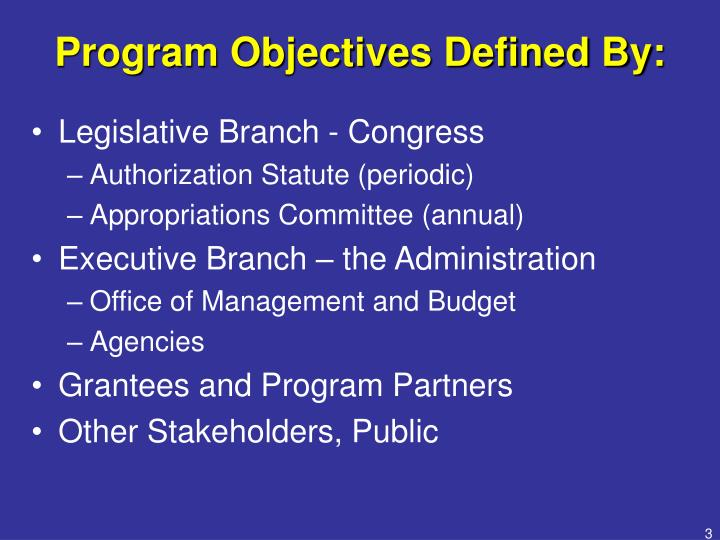 Program objectives defined by