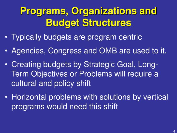 Programs, Organizations and Budget Structures