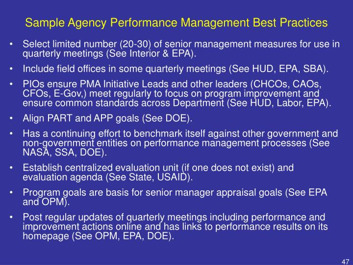 Sample Agency Performance Management Best Practices