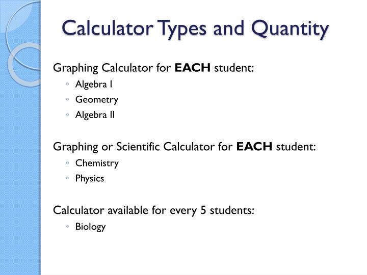 Calculator Types and Quantity