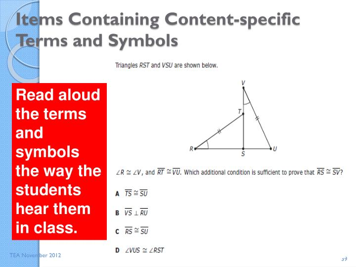 Items Containing Content-specific Terms and Symbols
