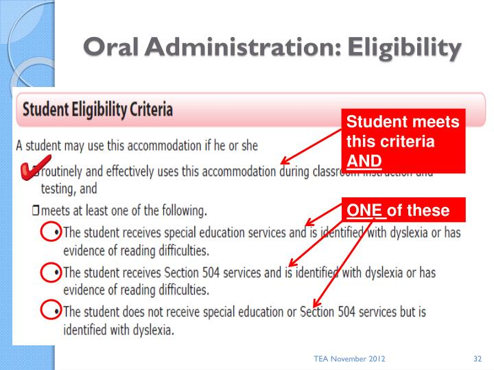 Oral Administration: Eligibility