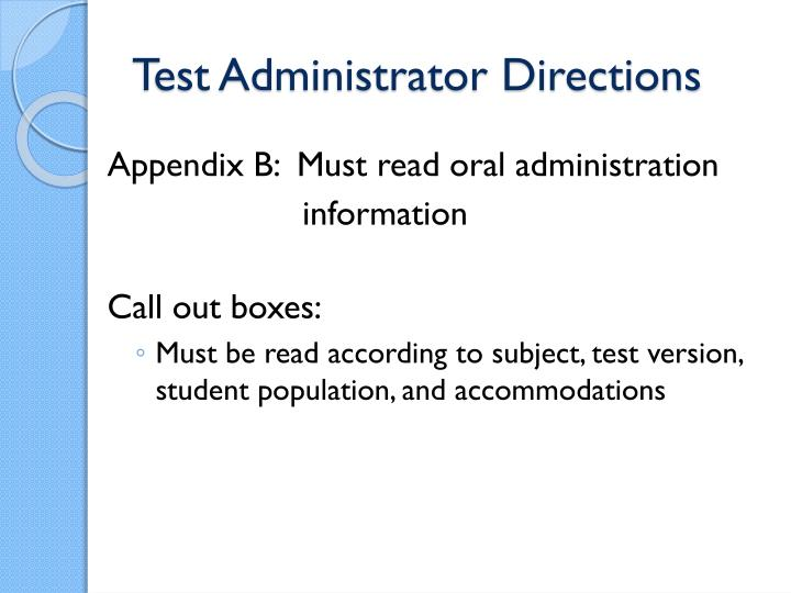 Test Administrator Directions