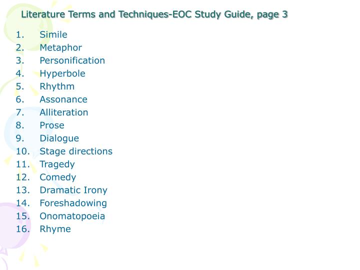 Literature terms and techniques eoc study guide page 3