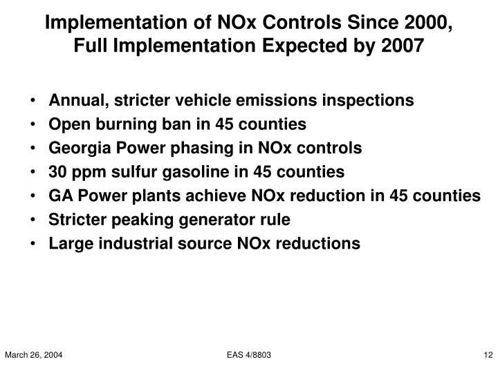 Implementation of NOx Controls Since 2000,