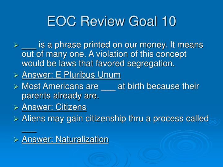 EOC Review Goal 10
