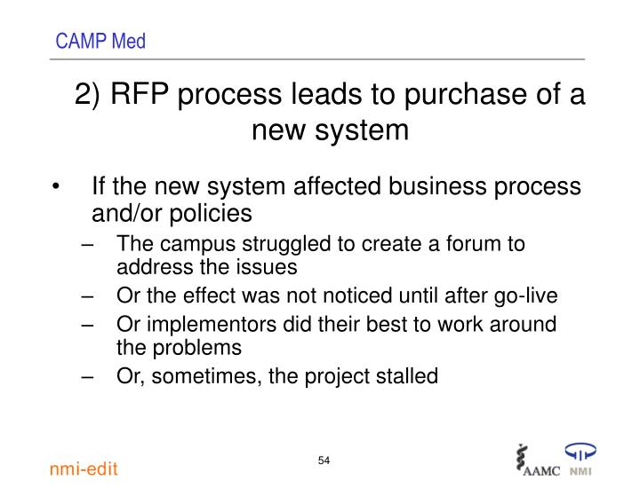 2) RFP process leads to purchase of a new system