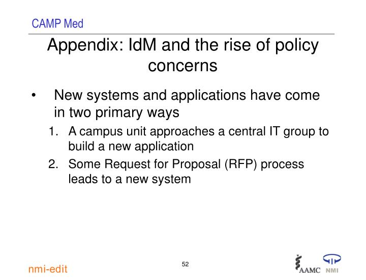 Appendix: IdM and the rise of policy concerns