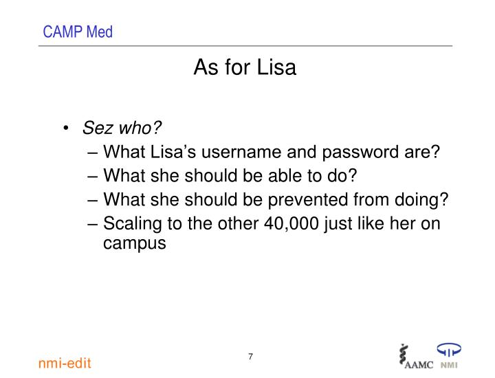 As for Lisa