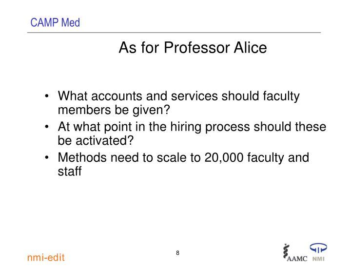 As for Professor Alice