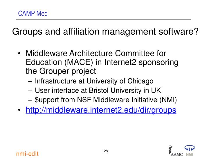 Groups and affiliation management software?