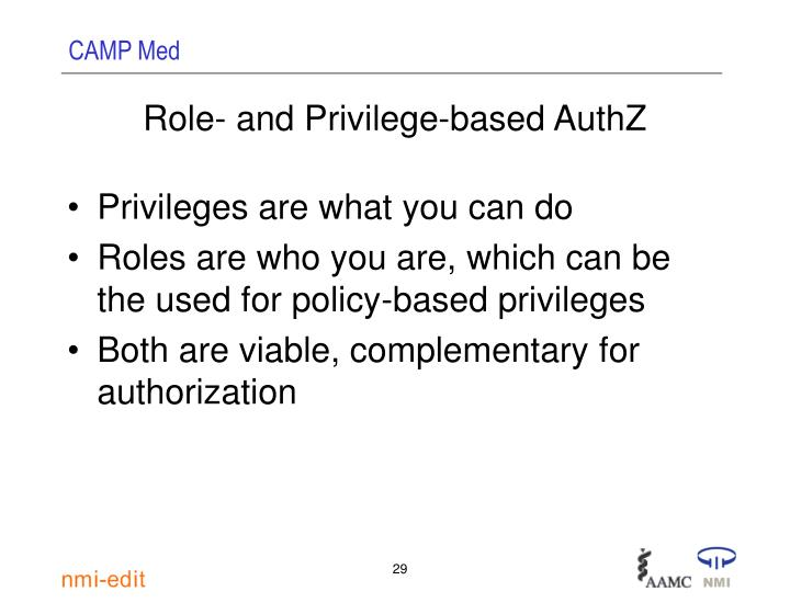 Role- and Privilege-based AuthZ