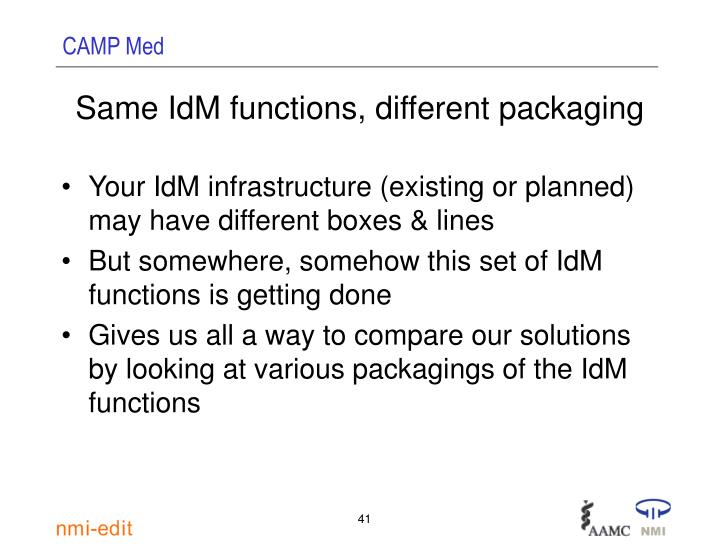 Same IdM functions, different packaging