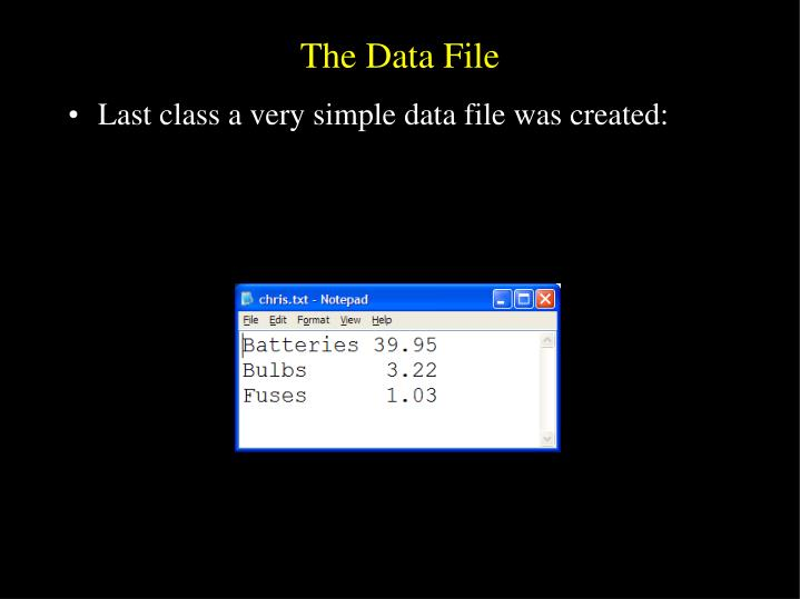The Data File