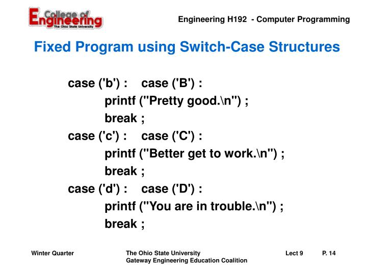 Fixed Program using