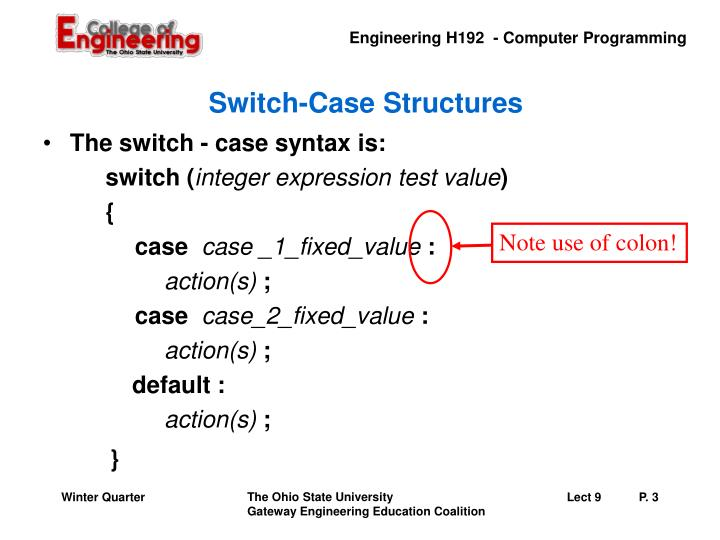Switch case structures1