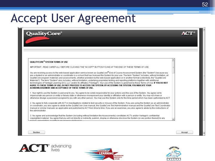 Accept User Agreement