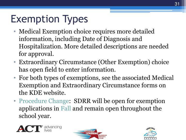 Exemption Types