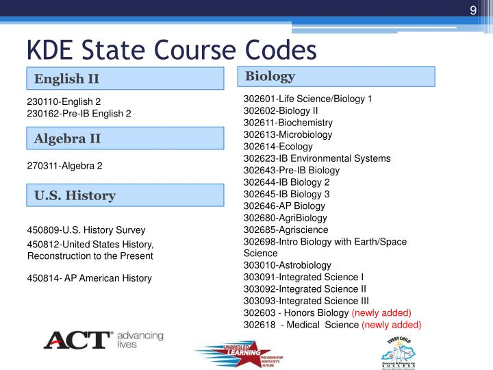 KDE State Course Codes