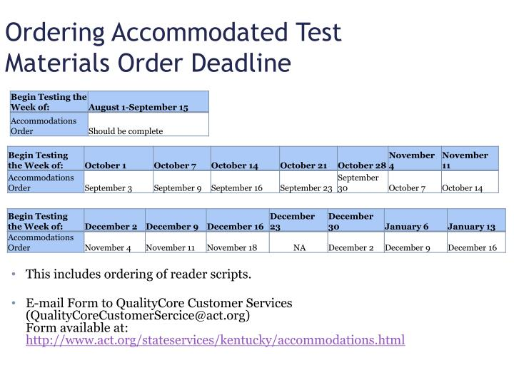 Ordering Accommodated Test Materials Order Deadline