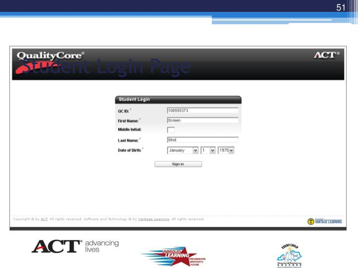 Student Login Page